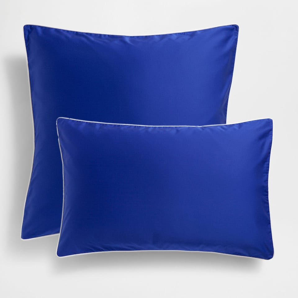 Blue Satin Pillow Case with Contrast Piping