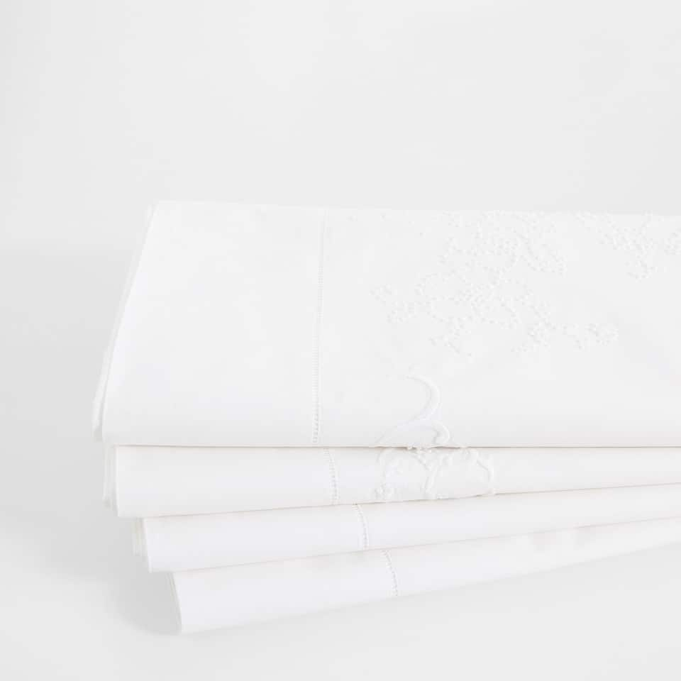 Percale Cotton Top Sheet with Embroidered Border
