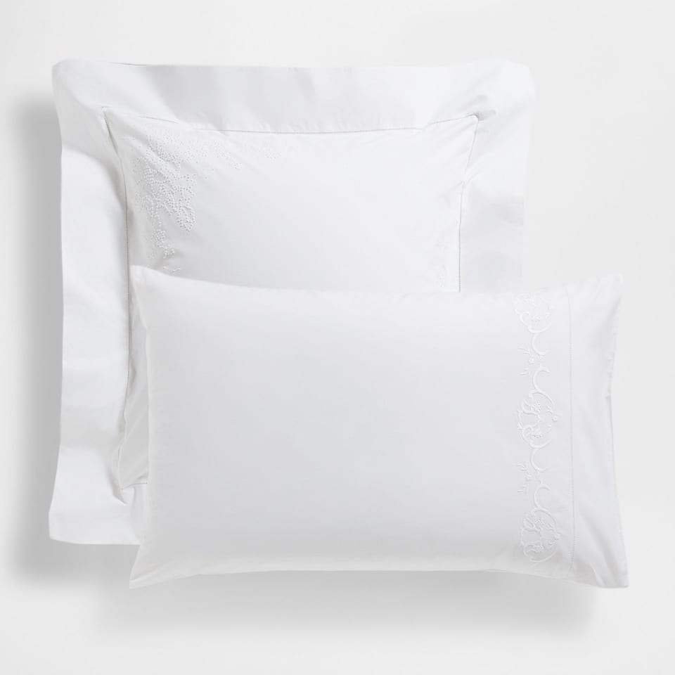 Percale Cotton Pillow Case with Embroidered Border