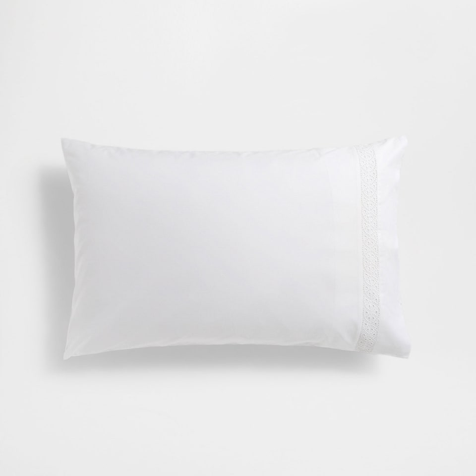 Floral Embroidered Percale Cotton Pillow Case