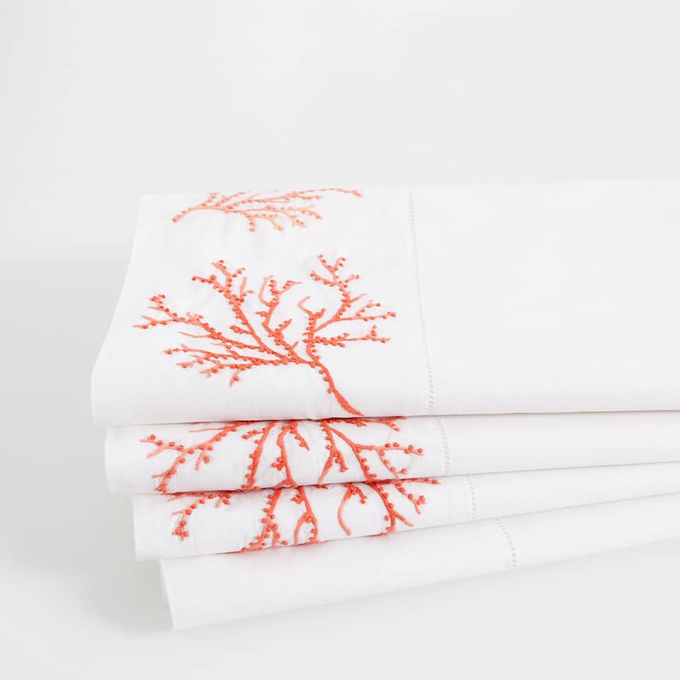 Coral Embroidered Percale Cotton Top Sheet