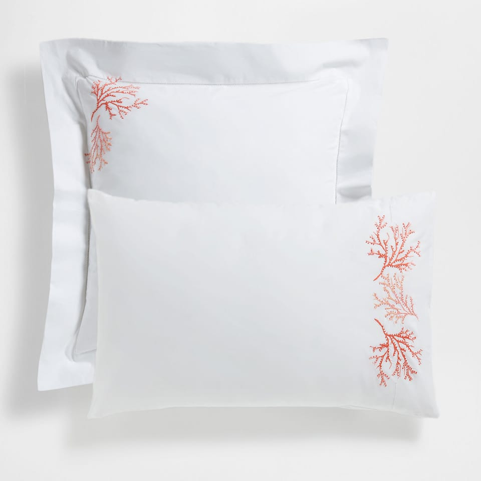 Coral Embroidered Percale Cotton Pillow Case
