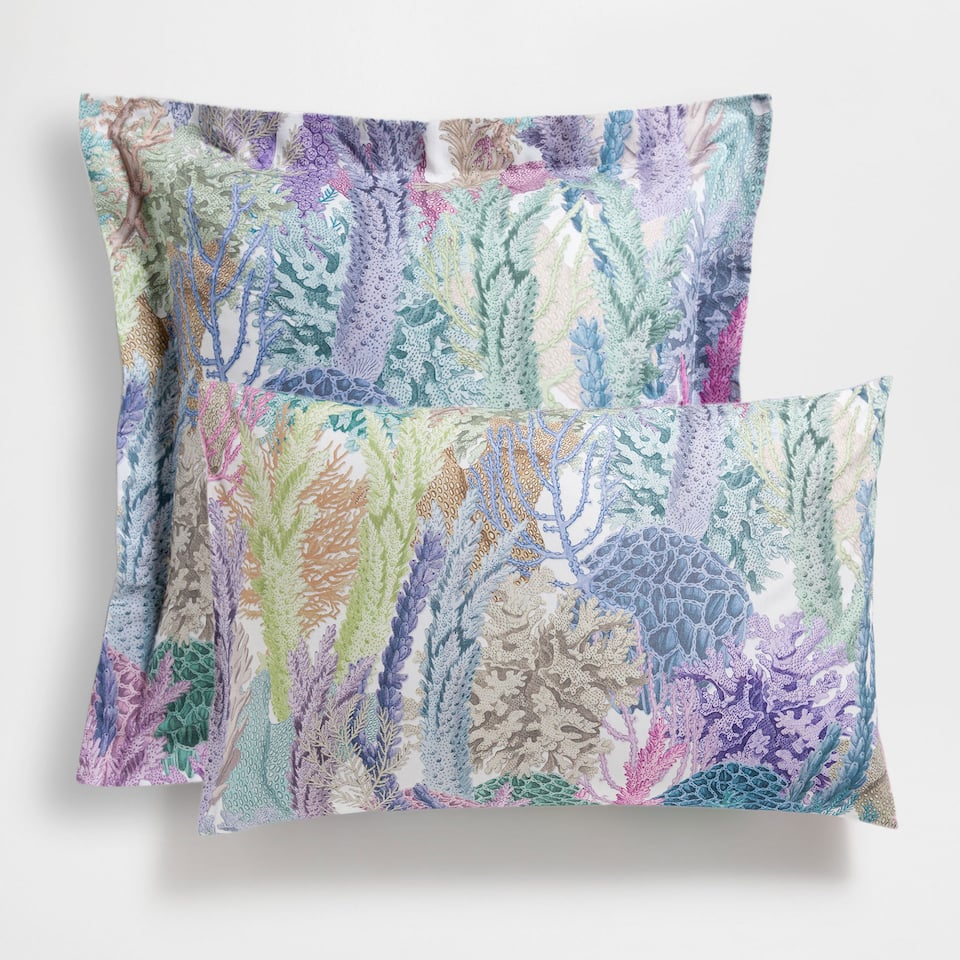 Multicoloured Coral Printed Pillow Case