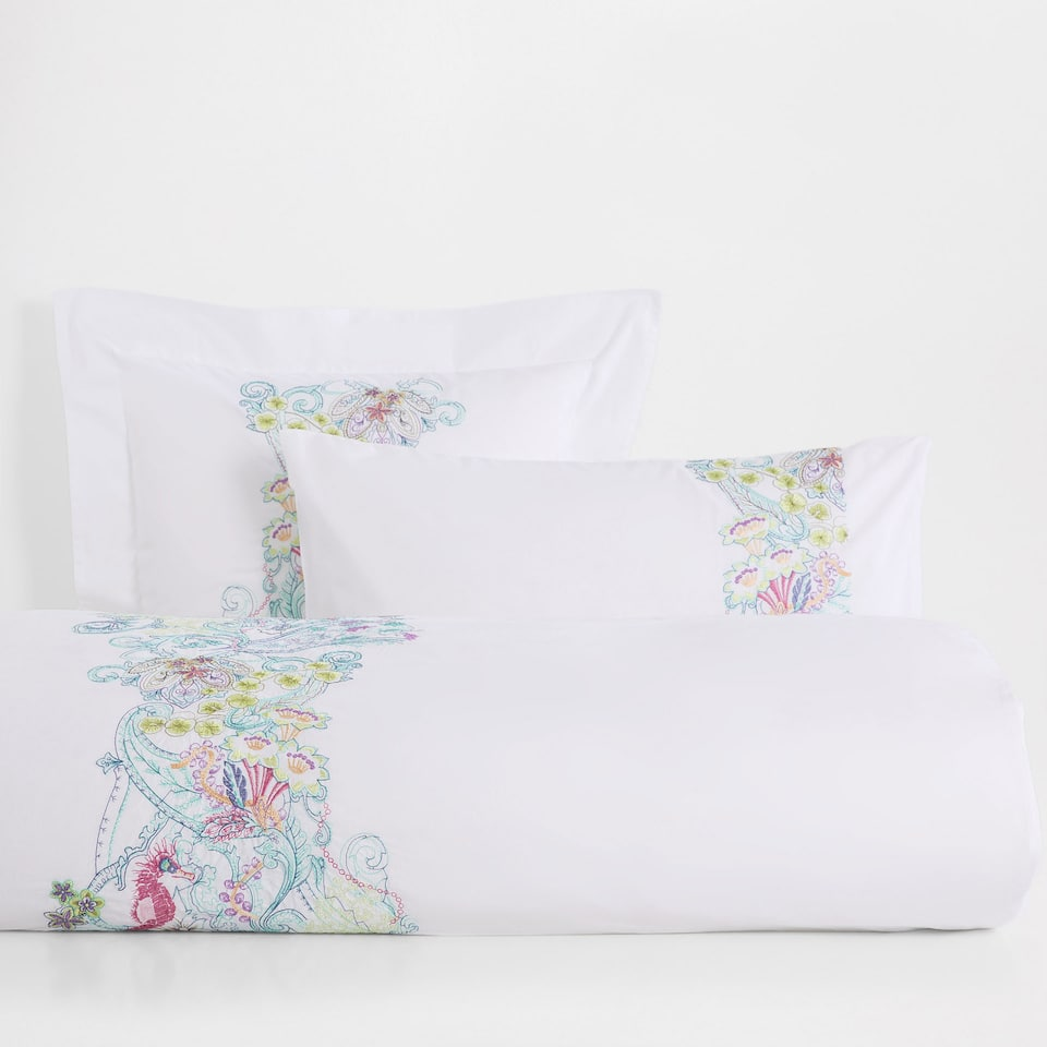 Multicoloured Embroidered Percale Cotton Duvet Cover