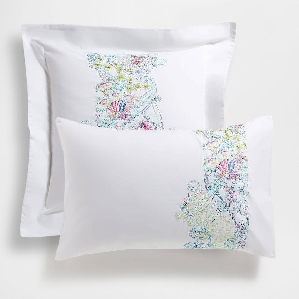 Multicoloured embroidered Percale Cotton Pillow Case