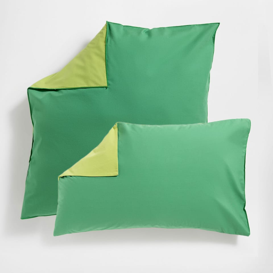 Reversible Two-Toned Washed Percale Cotton Pillow Case