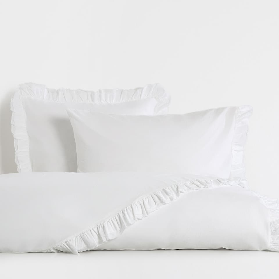 Washed Frilly Percale Cotton Duvet Cover