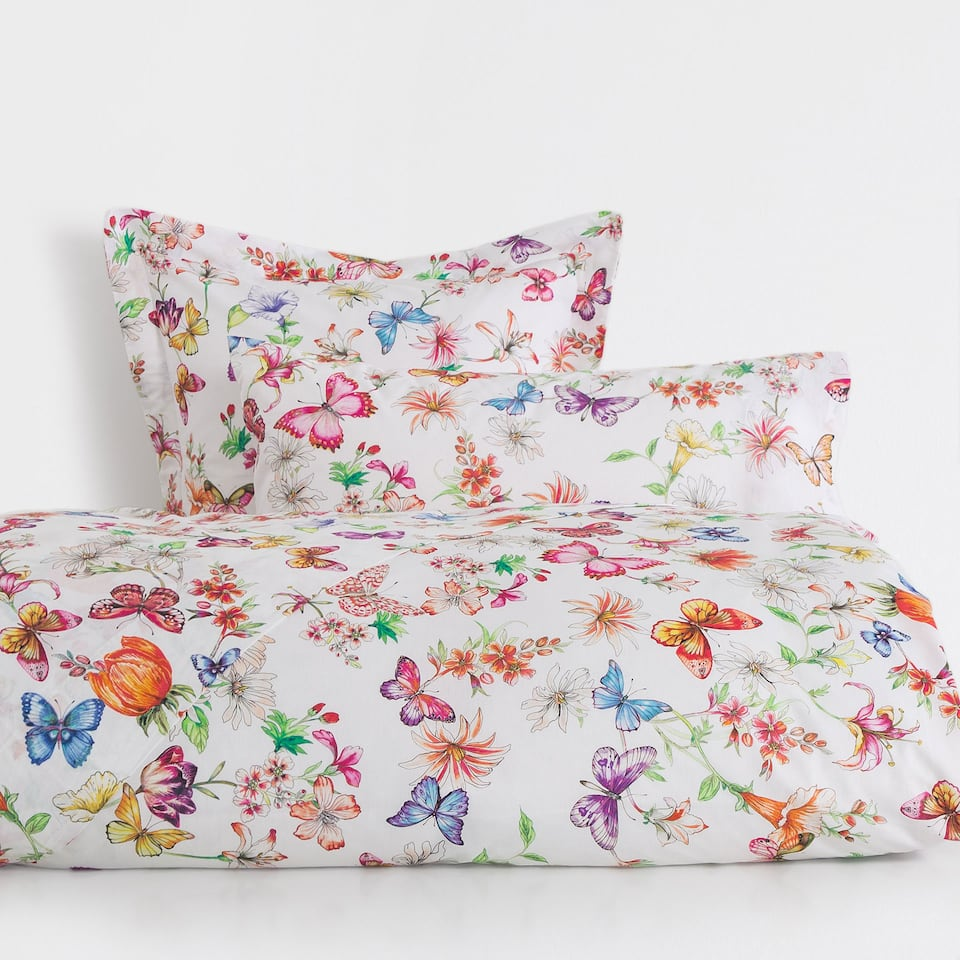 Floral and Butterfly Print Duvet Cover