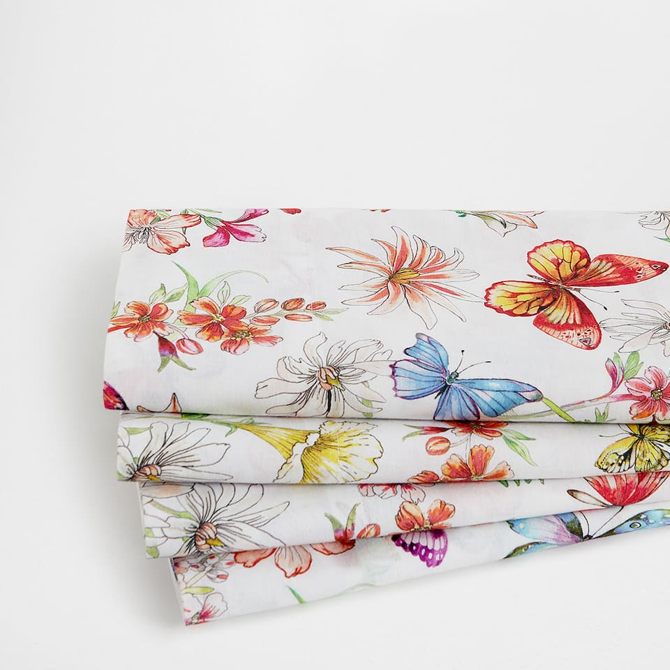 Floral and Butterfly Print Top Sheet
