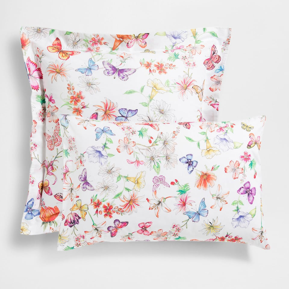 Floral and Butterfly Printed Pillow Case