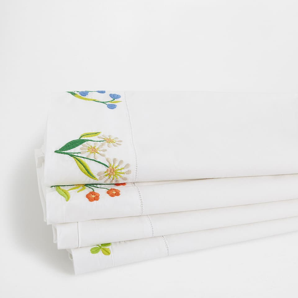 Floral Embroidered Percale Cotton Top Sheet