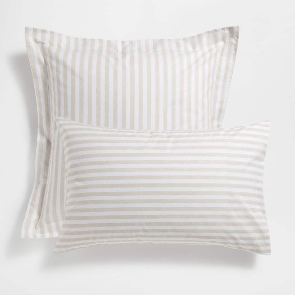 Beige Stripe Print Pillow Case
