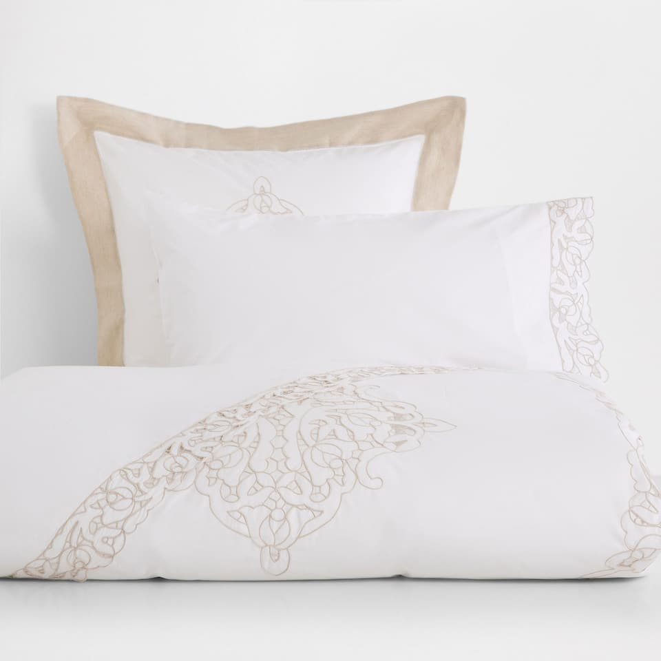 Openwork Embroidered Percale Cotton Duvet Cover