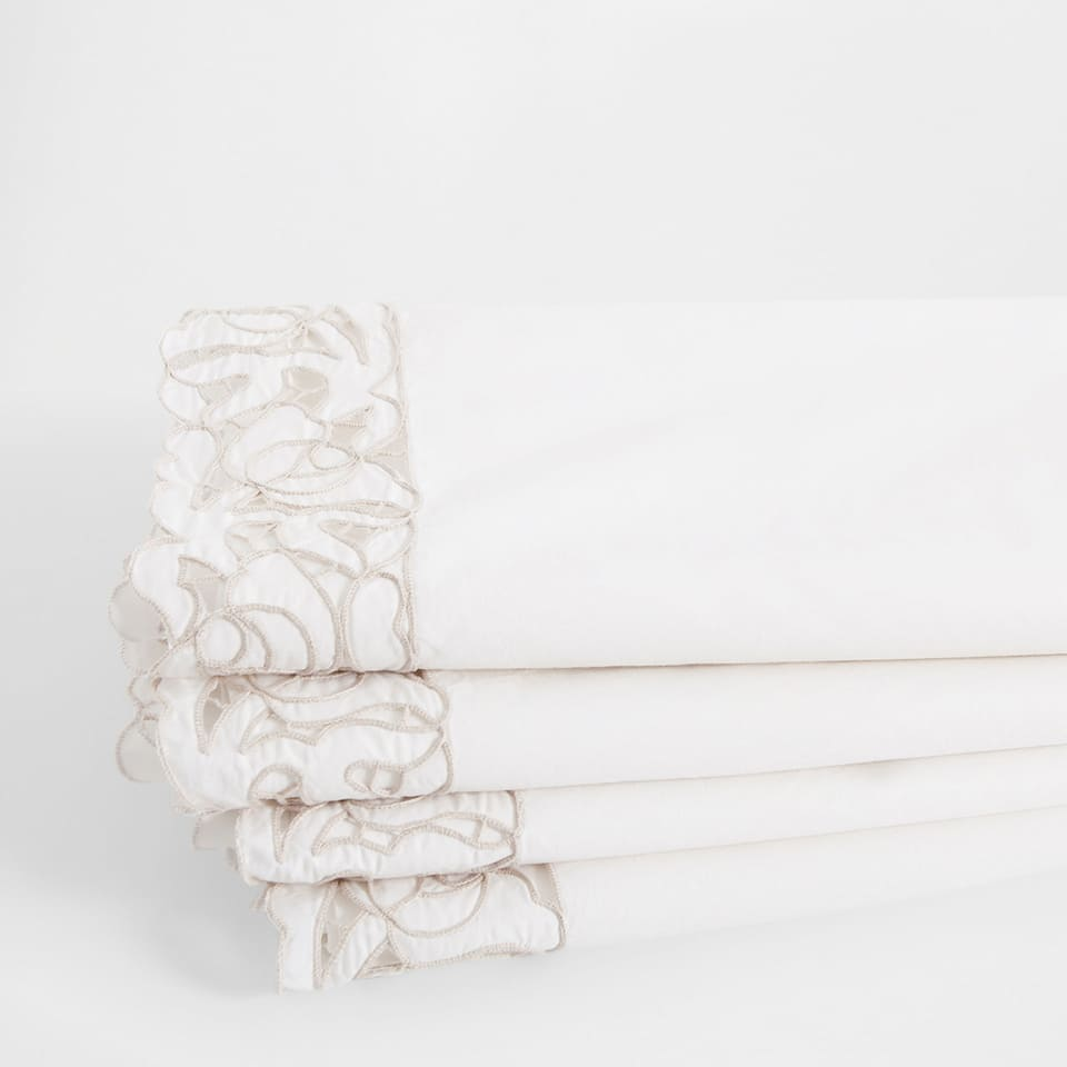 Openwork Embroidered Percale cotton Top Sheet