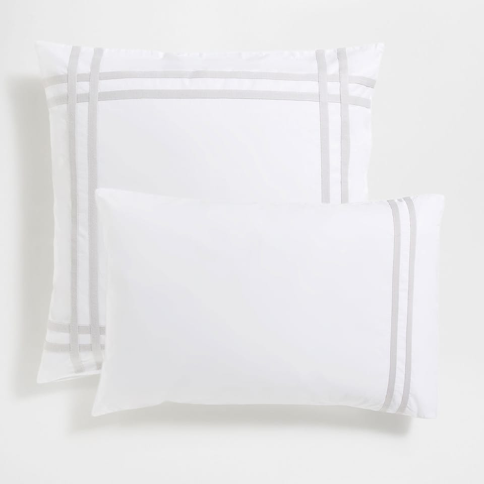Ribbons Washed Percale Cotton Pillow Case
