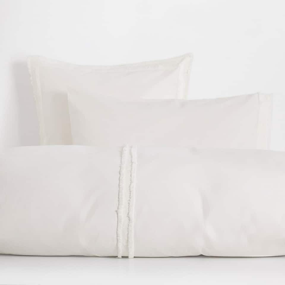 Double Fringe Washed Percale Cotton Duvet Cover