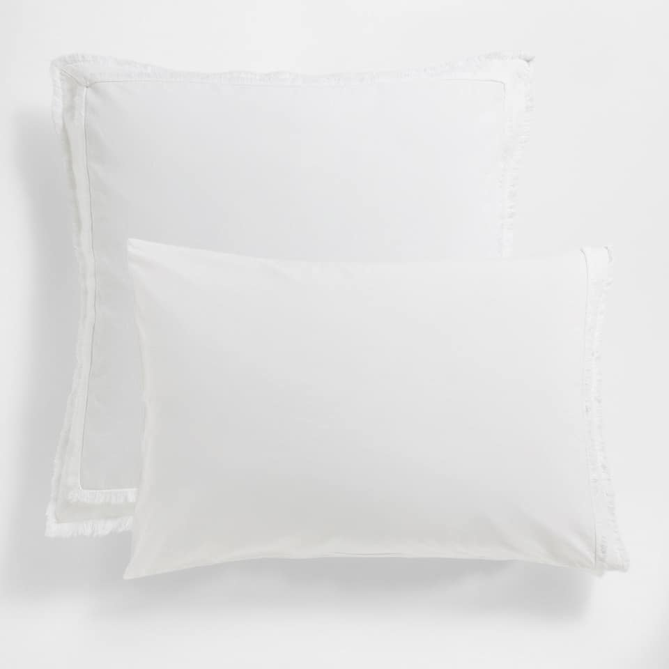 Double Fringe Washed Percale Cotton Pillow Case
