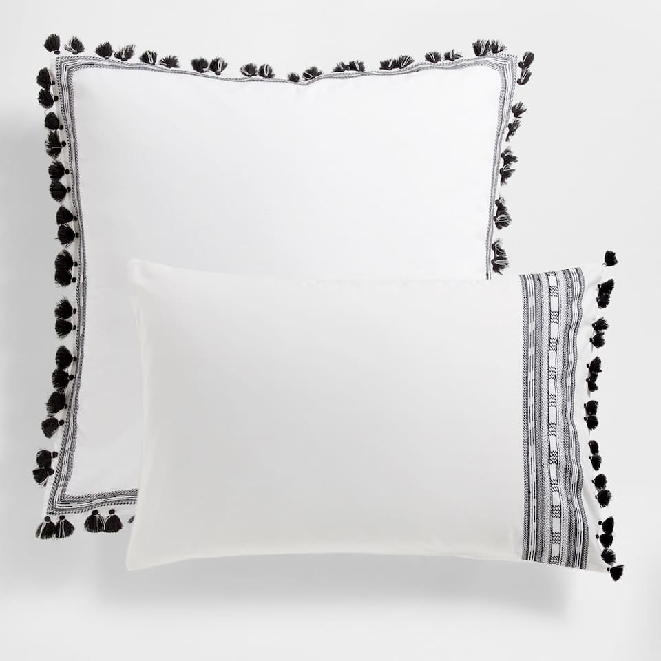 Pompoms Embroidered Percale Cotton Pillow Case