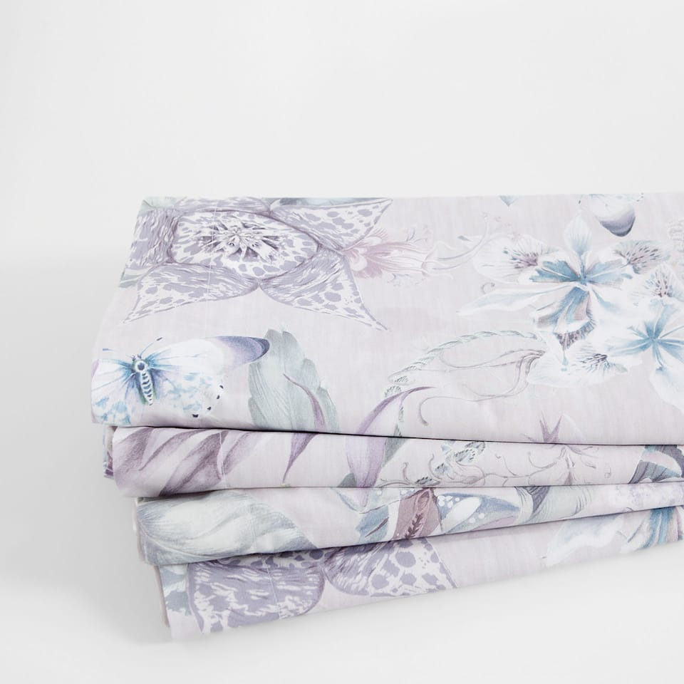 Butterfly and Floral Percale Cotton Top Sheet