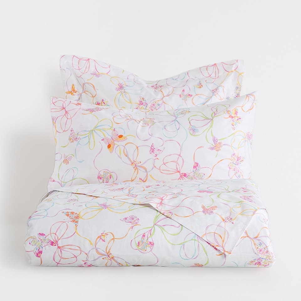 Butterflies and Bows Print Duvet Cover