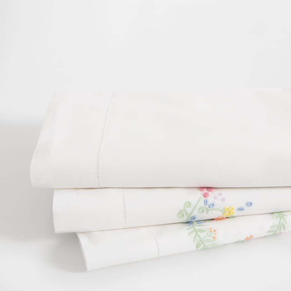 Floral Embroidery Percale Cotton Top Sheet