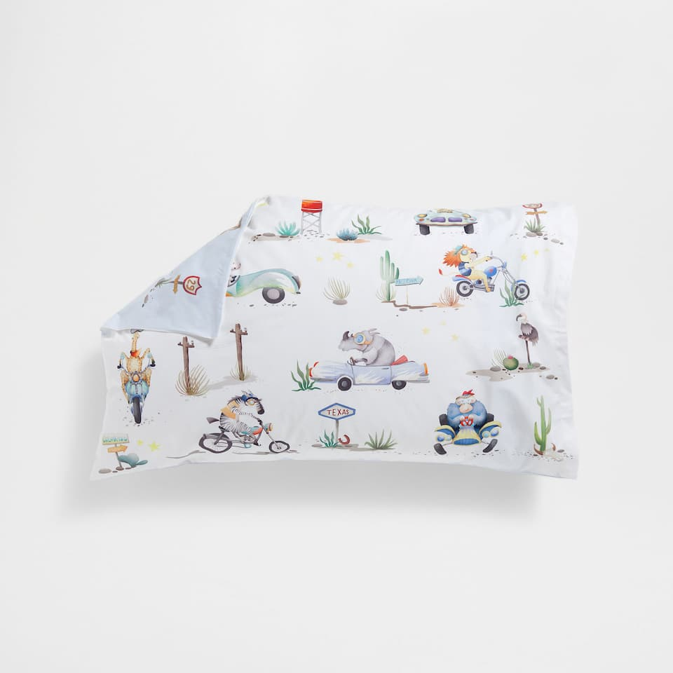 Animals and Transport Percale Cotton Pillow Case