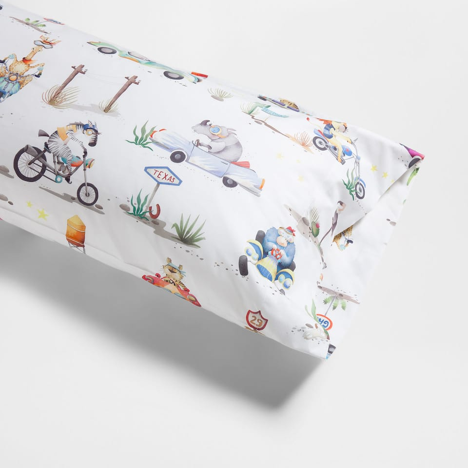 Driving animals Percale Cotton Pillow Case