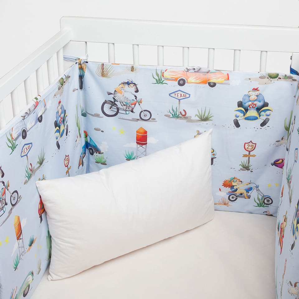 Character print percale cotton cot bumper cover