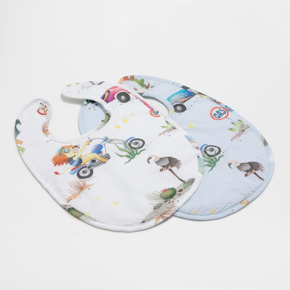 Character print percale cotton bib (set of 2)
