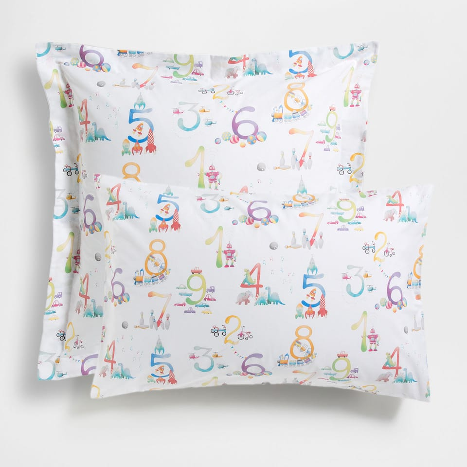 Number Print Pillow Case