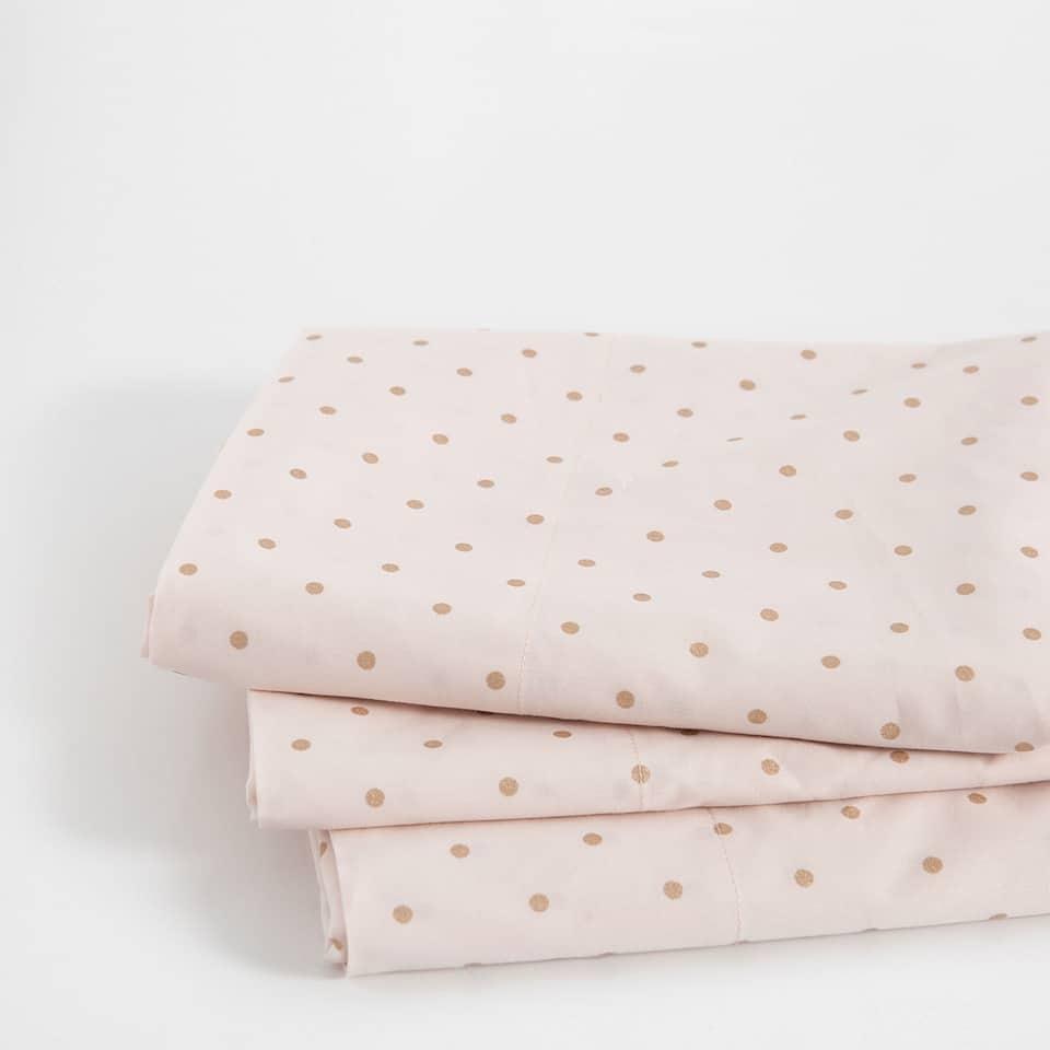 Metallic Polka Dot Print Percale Cotton Top Sheet