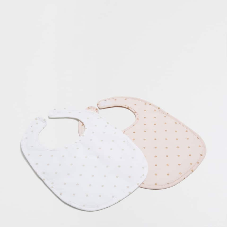 Polka dot print percale cotton bib (set of 2)