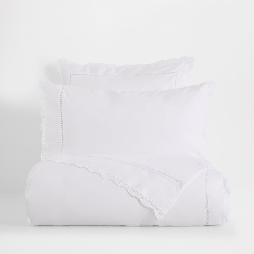 Lace Trim Embroidered Percale Cotton Duvet cover