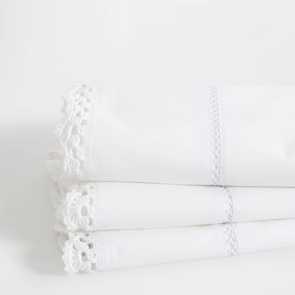 Lace Trim Embroidered Percale Cotton Top Sheet