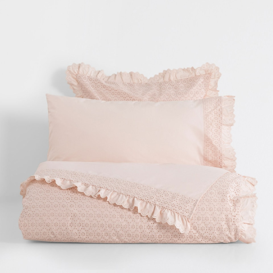 Frilled Percale Cotton Duvet Cover