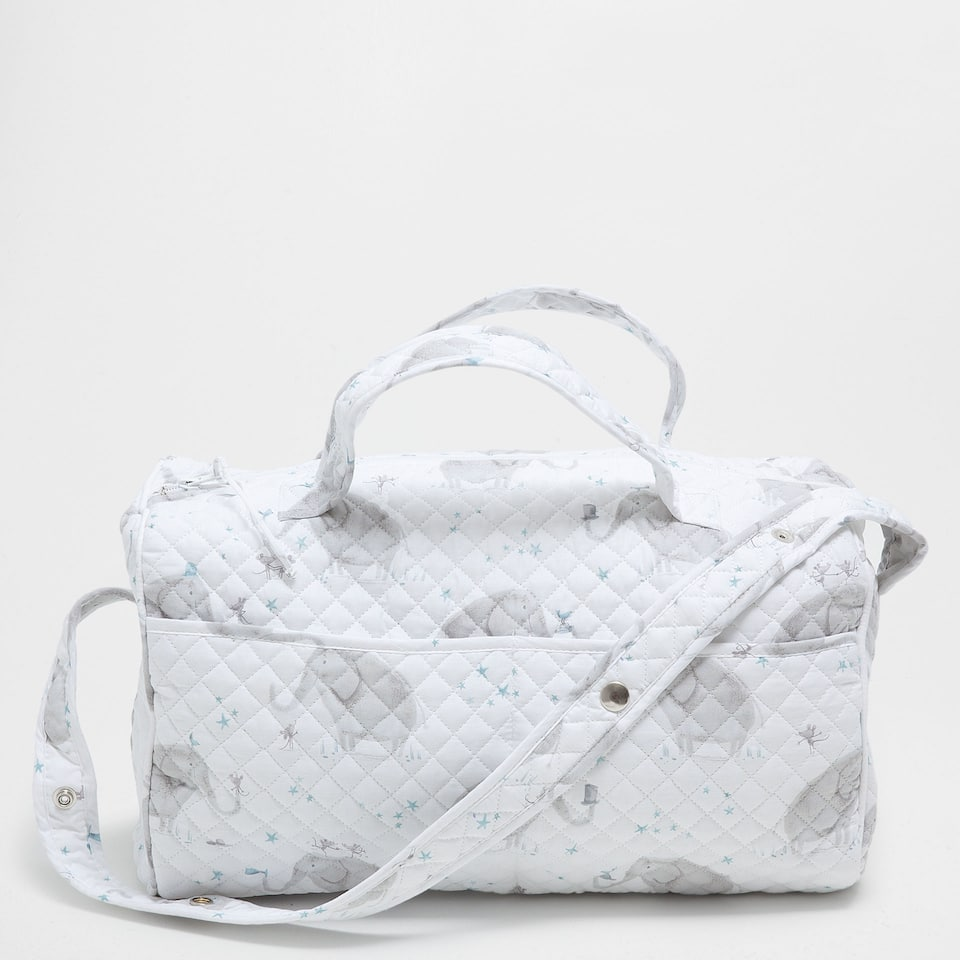 Elephant print percale cotton maternity bag