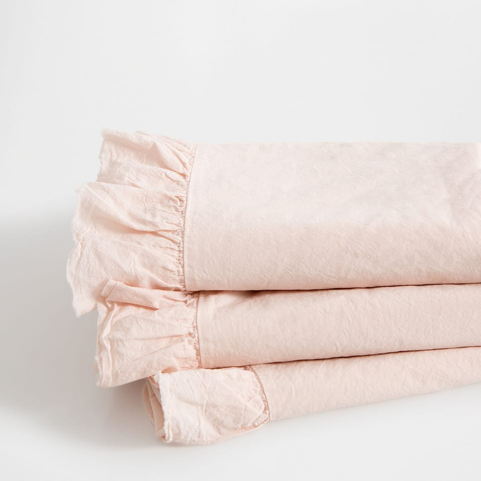 Frilled Washed Percale Cotton Top Sheet