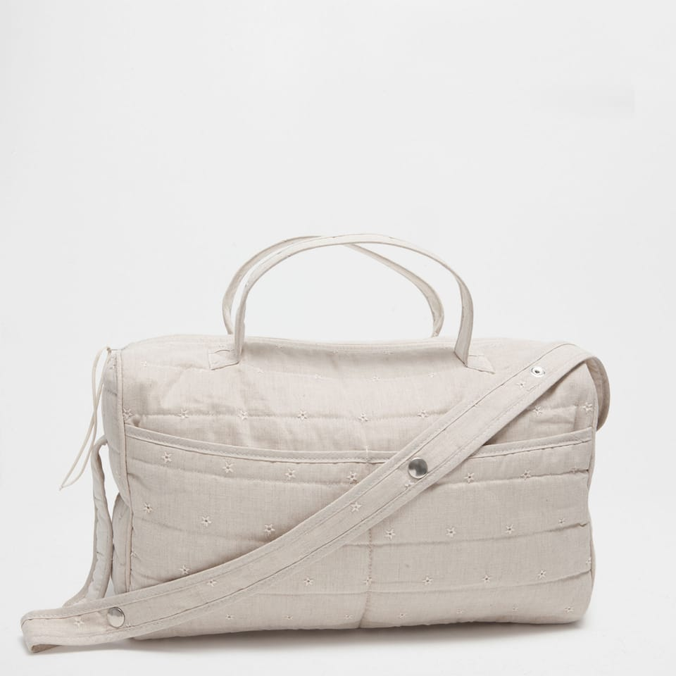 Tan embroidered cotton and linen maternity bag