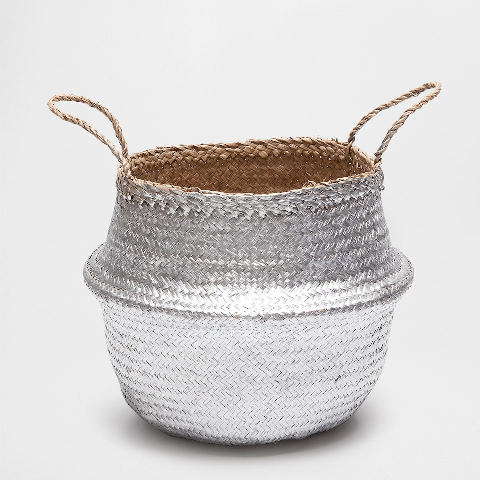 Silver-toned basket with handles