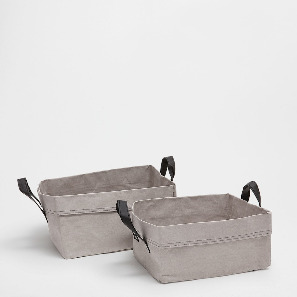 Light grey basket with handles