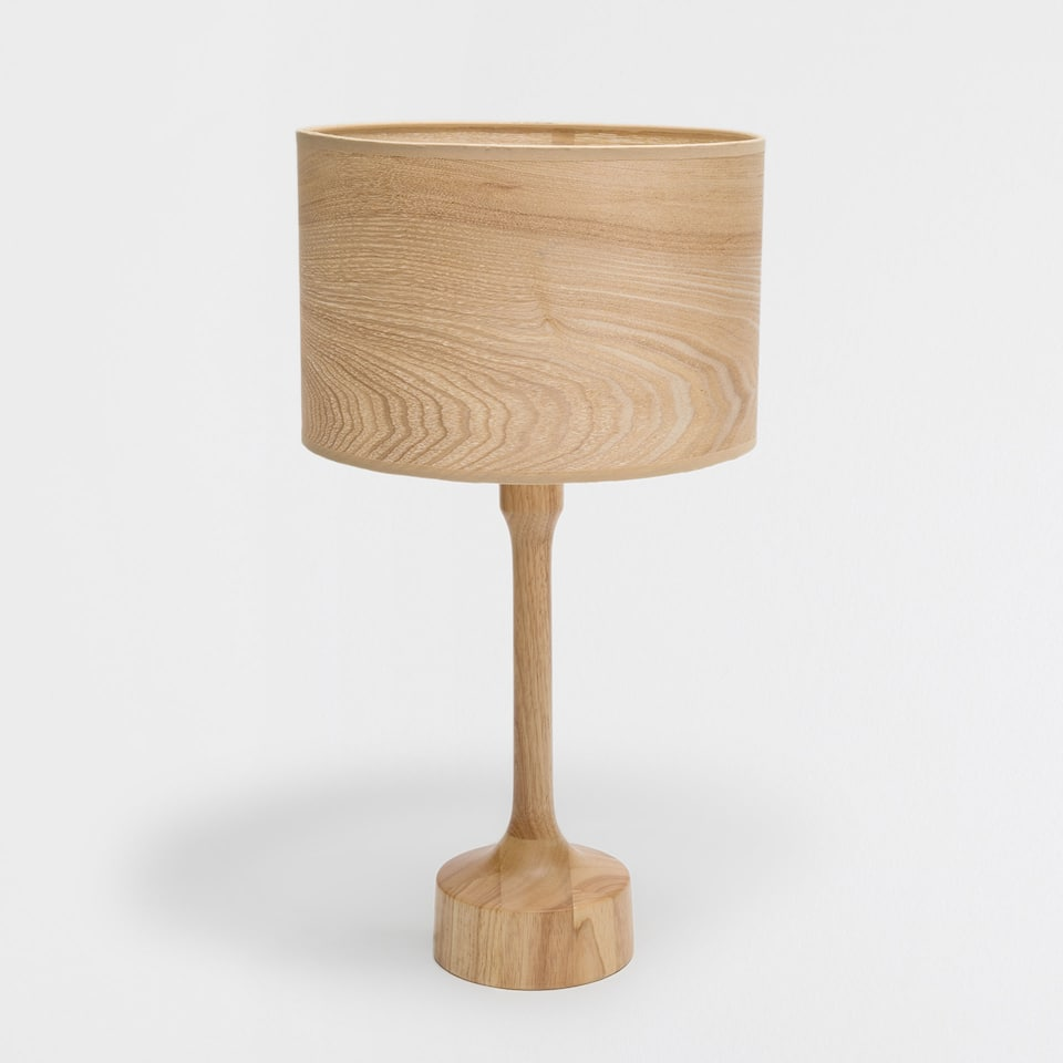 Lamp with a wooden screen and base