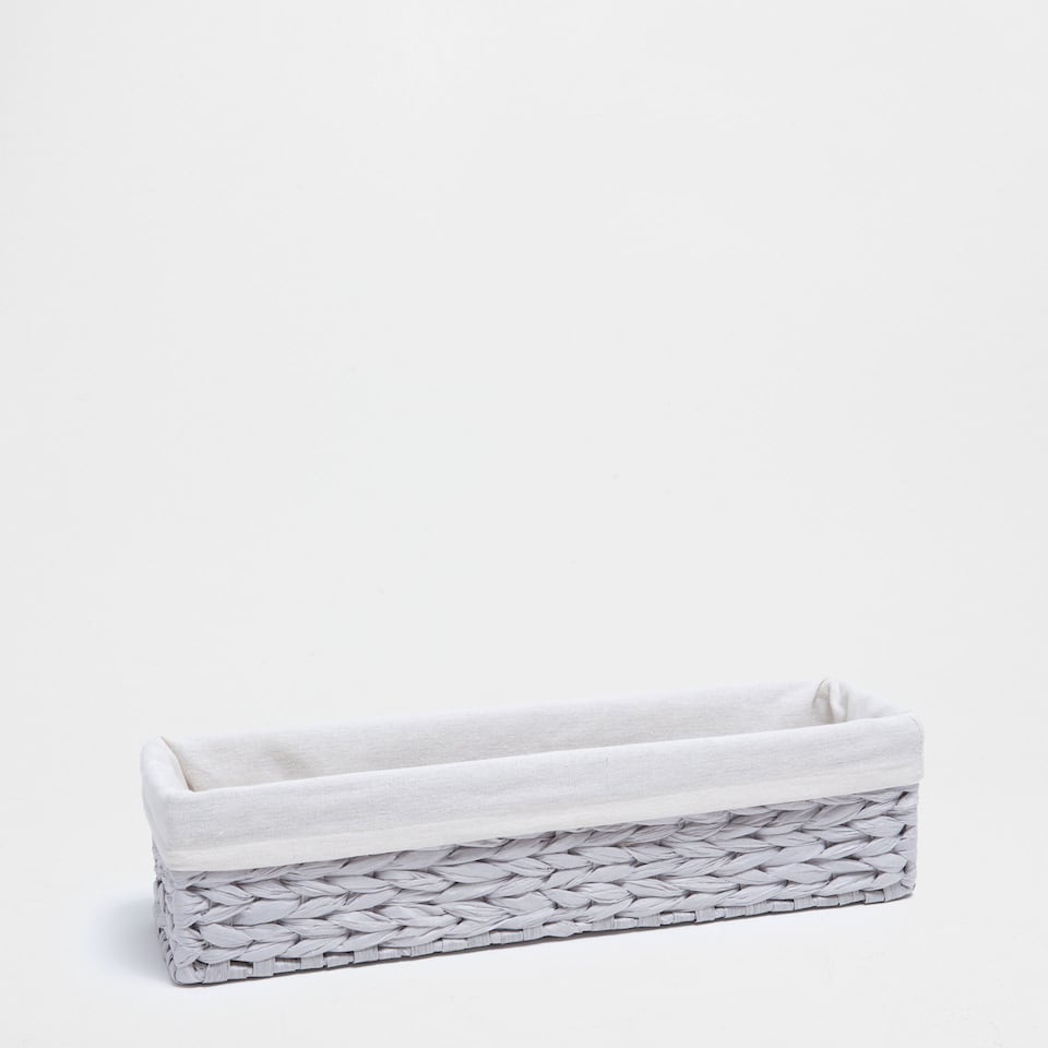 Grey fabric-lined long basket