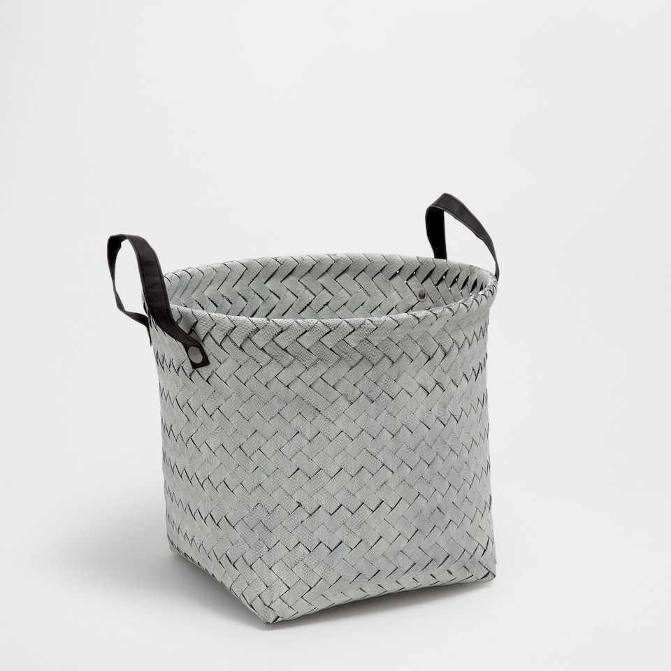 Large black basket with handles