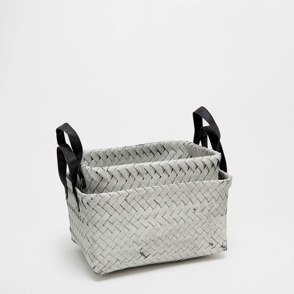 Rectangular basket with black handles
