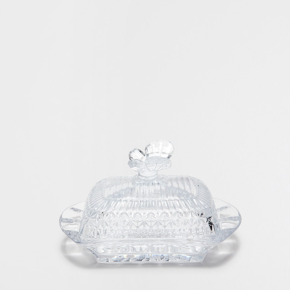 CUT GLASS BUTTER DISH WITH BUTTERFLY DETAIL