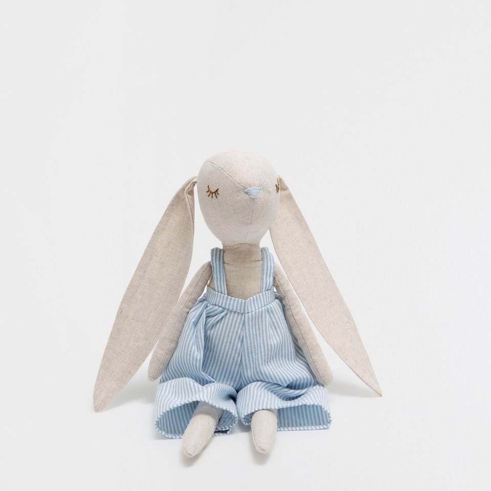 Bunny in dungarees soft toy