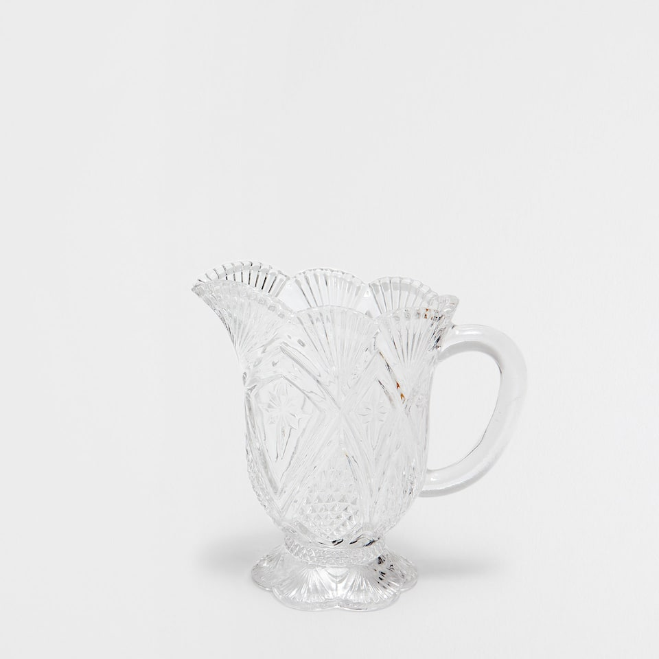 DIAMOND PATTERN CUT GLASS MILK JUG