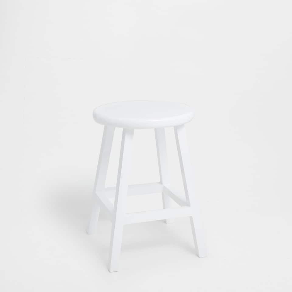 Lacquered white stool