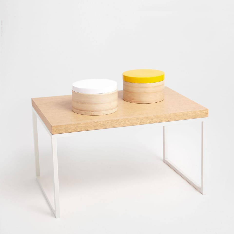 Rectangular natural and white side table