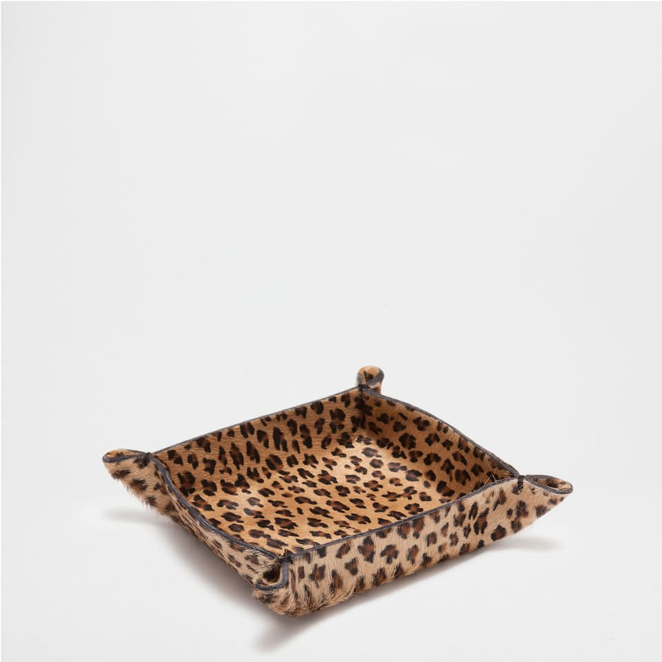 Leopard-Print Leather Small Change Holder